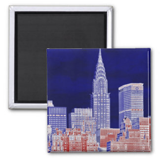 Chrysler Building, Met Life Viewed From East River 2 Inch Square Magnet