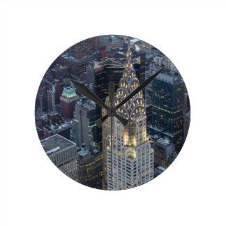 Chrysler Building New York City Aerial Skyline NYC Round Clock