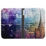 Chrysler Building - Paint Splattered - New York Kindle Folio Case