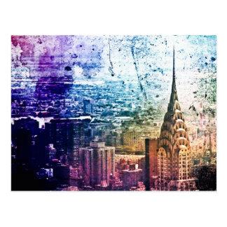 Chrysler Building - Paint Splattered - New York Postcard