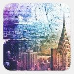 Chrysler Building - Paint Splattered - New York Square Stickers