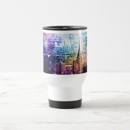Chrysler Building - Paint Splattered - New York Travel Mug
