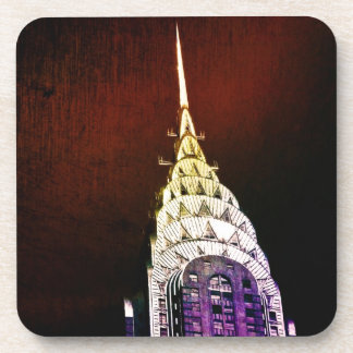 Chrysler Building - Purple and Red - NYC Beverage Coaster
