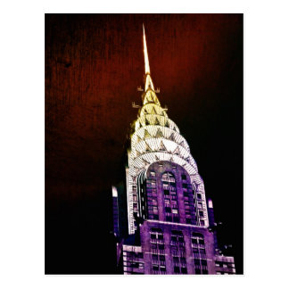Chrysler Building - Purple and Red - NYC Postcard