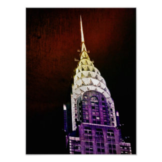 Chrysler Building - Purple and Red - NYC Poster
