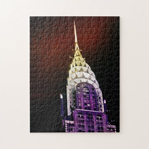 Chrysler Building - Purple and Red - NYC Jigsaw Puzzles