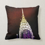 Chrysler Building - Purple and Red - NYC Throw Pillow