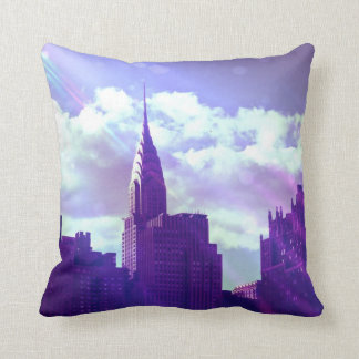 Chrysler Building - Purple - New York Fairy Tale Throw Pillow
