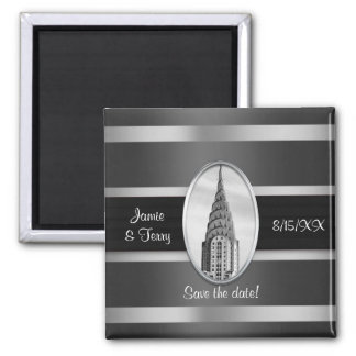 Chrysler Building Save the Date Black Silver BW 2 Inch Square Magnet