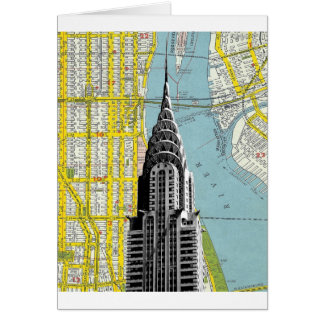 Chrysler Building with Map background Card