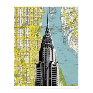 Chrysler Building with Map background Postcard