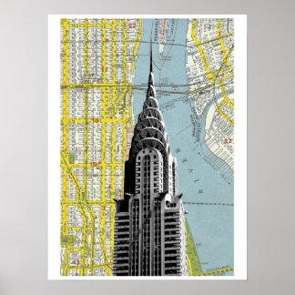 Chrysler que construye con el fondo del mapa de NY Póster