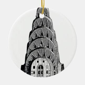 Chrysler que construye la bóveda adorno navideño redondo de cerámica