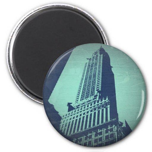 Chrysler que construye Manhattan Imán Redondo 5 Cm