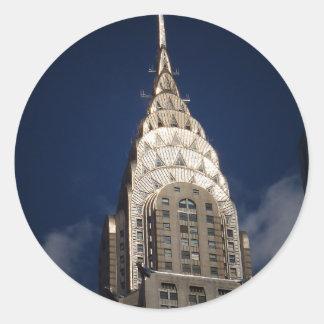Chrysler que construye, New York City Pegatina Redonda