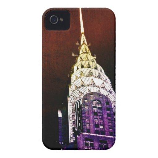 Chrysler que construye - púrpura y rojo - NYC Case-Mate iPhone 4 Carcasa