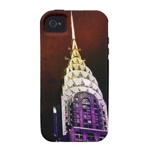 Chrysler que construye - púrpura y rojo - NYC Vibe iPhone 4 Carcasas