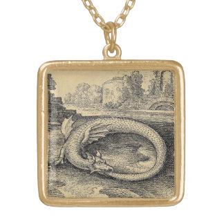 Chrysopoeia Ouroboros Serpent of Cleopatra Square Pendant Necklace