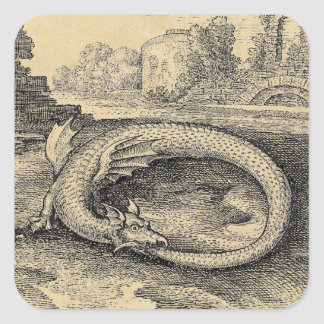 Chrysopoeia Ouroboros Serpent of Cleopatra Square Stickers