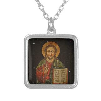 Chrystus Pantokrator Icon (Jesus) Silver Plated Necklace