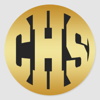 CHS - HIGH SCHOOL INITIALS GOLD TEXT CLASSIC ROUND STICKER
