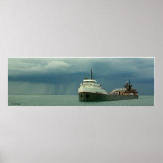 Chubasco del carguero del lago póster