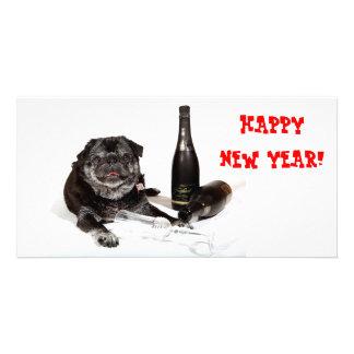 Chubbs la tarjeta de la foto de la Feliz Año Nuevo Tarjetas Personales