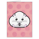 Chubby All White Russian Dwarf Hamster Greeting Card