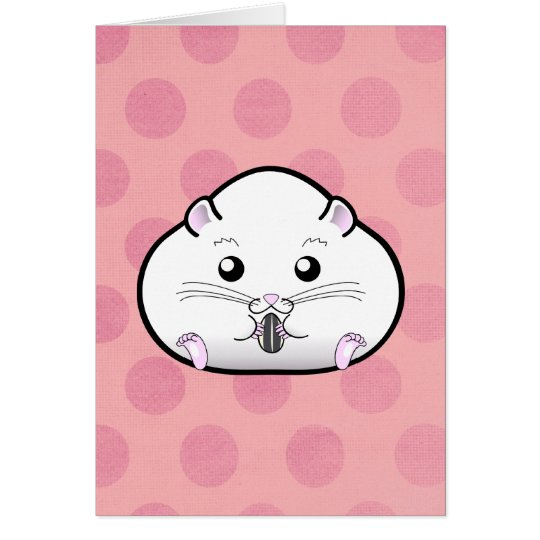 Chubby All White Russian Dwarf Hamster Card