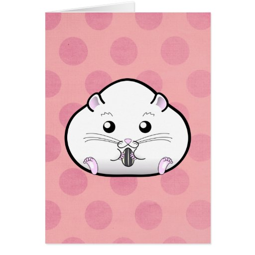 Chubby All White Russian Dwarf Hamster Cards