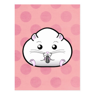 Chubby All White Russian Dwarf Hamster Postcard