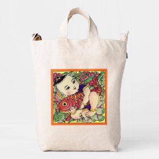 Chubby Baby Boy Holding Carps Duck Bag