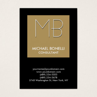 Chubby beige stripe black background business card