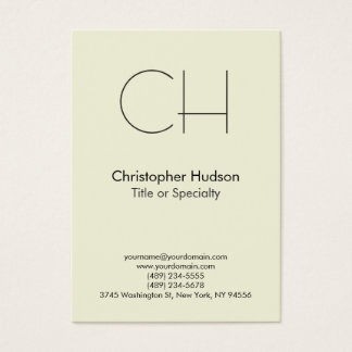 Chubby Beige Trendy Modern Monogram Business Card