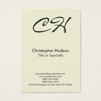 Chubby Beige Trendy Script Monogram Business Card