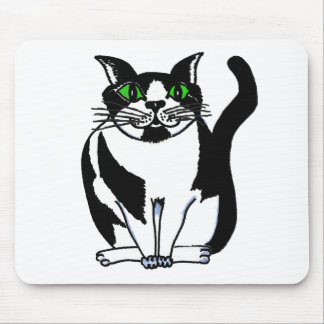 Chubby Black and White Cat Mouse Pads