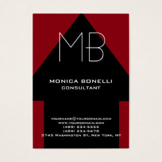 Chubby black arrow red background modern business card