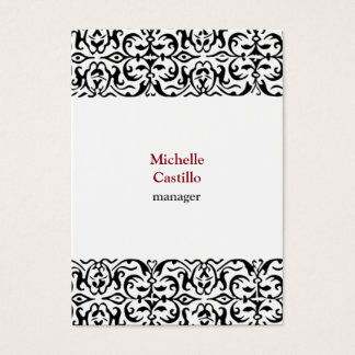 Chubby Black White Classical Ornate Professional Business Card