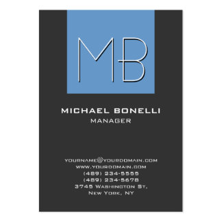 Chubby blue gray chic monogram business card