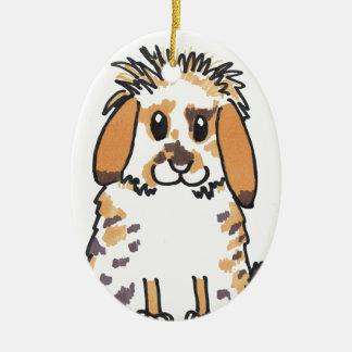 Chubby bunny 'Holly' Design Ceramic Ornament