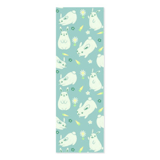 Chubby Bunny Pattern Bookmark Double-Sided Mini Business Cards (Pack Of 20)
