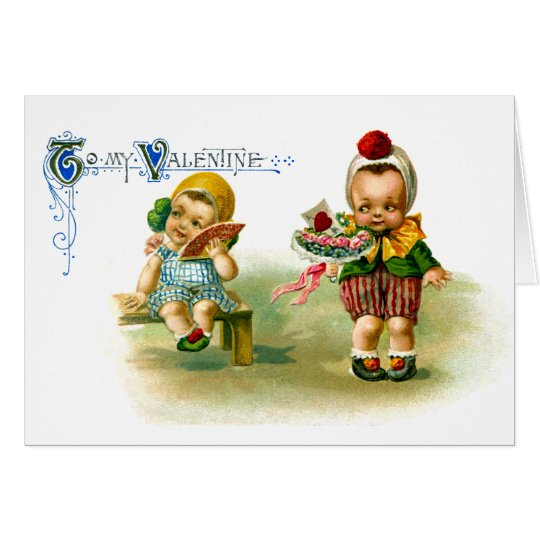 Chubby Cheeked Kids Vintage Valentine Card