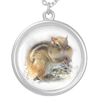 Chubby Cheeks Chipmunk Round Pendant Necklace
