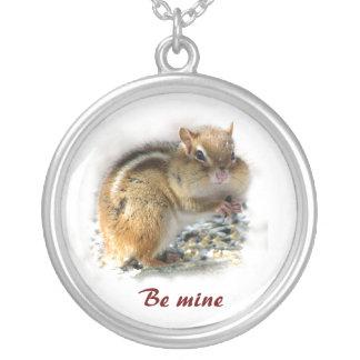 Chubby Cheeks Chipmunk Valentine Round Pendant Necklace
