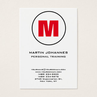 Chubby Circle Monogram White Red Personal Trainer Business Card