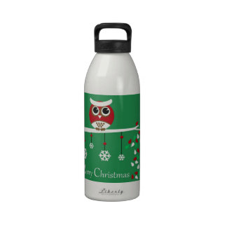 Chubby Fat Owl Series Merry Christmas Water Bottle