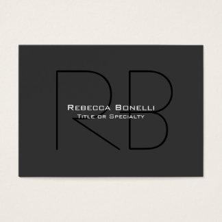 Chubby Gray Black Trendy Monogram Business Card