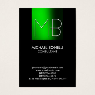 Chubby green stripe black background business card