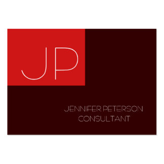 Chubby Lovable Charming Monogram Red Brown Large Business Card