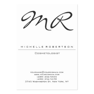 Chubby Modern Monogram Cosmetologist Business Card
